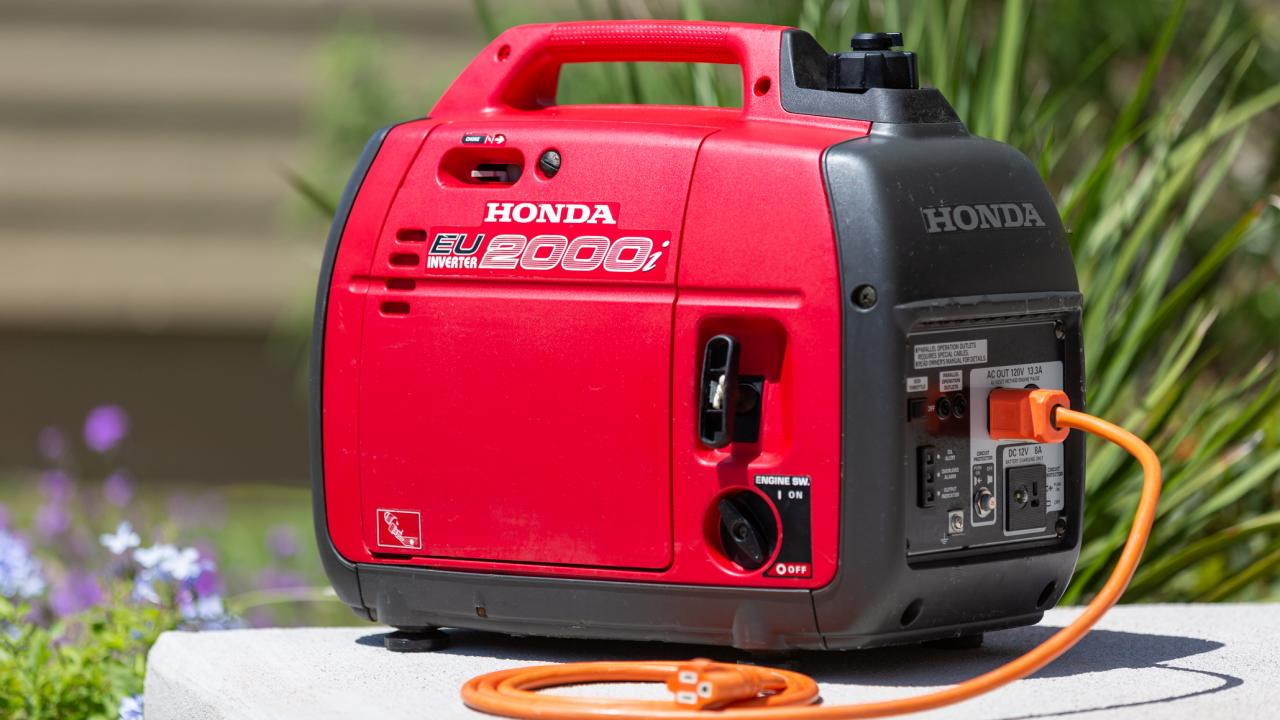Don't fret if a power outlet is not available at your next outdoor event. Small power generators, like this Honda model, can provide plenty of power while making little noise. Image: Digitized House Media.